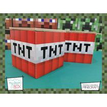 Cajas Personalizadas Madera 9cm2 Minecraft Souvenirs Tnt