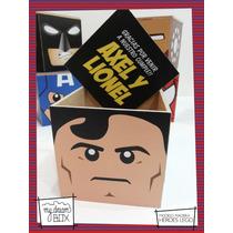 Caja Personalizada Madera 9cm2 Souvenir Heroes Lego Superman