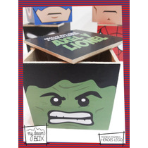Caja Personalizada Madera 7cm2 Souvenir Heroes Lego Hulk
