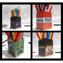 Caja Lapicero Personaliza Madera Minecraft Souvenir A Pedido