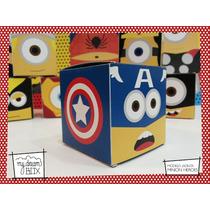 Souvenir Evento Personalizado Cajas Minions Heroes Capitan A