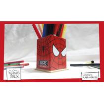 Caja Lapicero Personaliza Madera Heroes Souvenir Spiderman