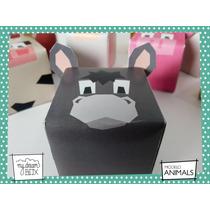 Souvenirs Evento Cumpleaños Caja Animales Granja Burro Asno