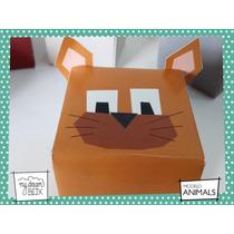Souvenirs Evento Cumple Caja Animales Granja Gato Minino