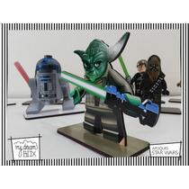 Souvenir Apliq Personalizado Madera 10cm Star Wars Yoda Lego