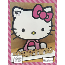 Souvenir Evento Personaliza Aplique Madera 10cm Hello Kitty