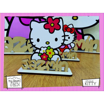 Souvenir Cumple Aplique Personalizad Madera 30cm Hello Kitty