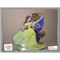 Souvenir Evento Madera 10cm Princesas Disney Bella Bestia