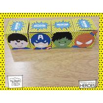 Souvenir Evento Caja Personaliza Heroes Hulk Superman Spider