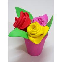 Souvenir Maceta Y Rosas X20u Goma Eva, Infantil Cumpleaños