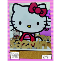 Souvenir Cumple Aplique Personalizad Madera 40cm Hello Kitty