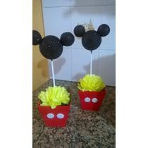 Centro De Mesa Con Silueta Mickey Brillante Personalizados!