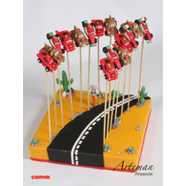 Souvenirs Brochettes Cars Rayo Mac Queen X 20 Unid. + Base