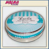 Souvenirs,10 Latas Pastilleros Personalizadas(100%)7,5x2,5cm