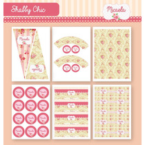 Kit Para Imprimir En Casa! Estilo Shabby Chic Rosa Y Natural