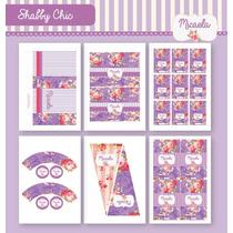 Kit Para Imprimir En Casa! Estilo Shabby Chic Lila Y Rosa