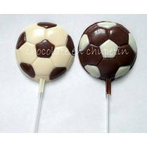 12 Chupetines De Chocolate Pelota Futbol Combinada