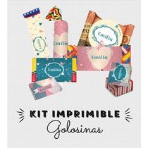 Kit Imprimible Globo Azul Golosinas Personalizadas
