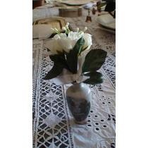 Rosas Blancas.souvenirs De Tela De 3 Flores Moño Al Tono. .