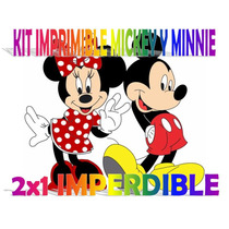 Kit Imprimible Mickey Y Minnie Cumpleaños Invitaciones