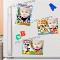 Cumpleaños Mickey : Cartel Bienvenida + 15 Souvenirs Iman