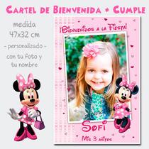 Divino Cartel De Cumpleaños Bienvenida Minnie Rosa C/foto