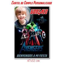 Los Vengadores Avengers Cartel De Cumpleaños Bienvenida Foto