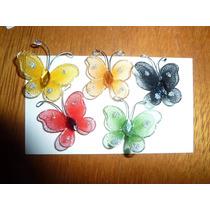 Mariposa De Tul 3 Cm Ideal Souvenir Colores X 5 Unidades
