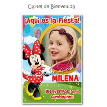 Cartel Cumpleaños Minnie Enredados Con Tu Foto Y Nombre
