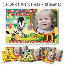 Zou La Cebra: Cartel De Bienvenida + 15 Imanes Cumpleaños