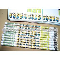 Minions!!!, 20 Lapices Negros Con Goma Personalizados!!