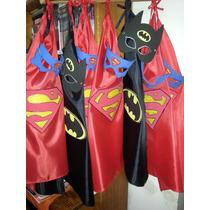 Capas Con Caretas De Superheroes En Goma Eva P/niños Y Niñas