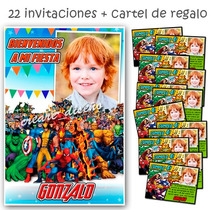 The Avengers Cumpleaños: 22 Invitacion + Cartel Bienvenida!