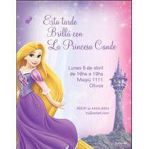 Tarjetas Personalizadas Rapunzel Infantiles Únicas!! X 24