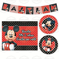 Kit Imprimible Mickey Mouse Candy Bar Cumpleaños Invitación