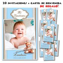 Bautismo 1er Añito: 20 Invitaciones Cn Foto + Cartel Regalo!