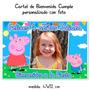 Peppa Pig Cerdita Cartel Cumpleaños Bienvenida Con Tu Foto