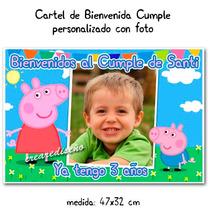 Oferta Cartel Cumpleaños Peppa Pig Pepa Con Tu Foto Y Nombre