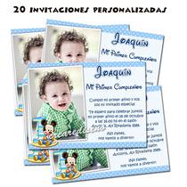 Mickey Bebé 20 Invitaciones De Cumpleaños Y Cartel Gratis