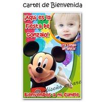 Cumpleaños Minnie Mickey . Cartel Bienvenida Con Foto Nombre