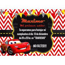 Cars Invitaciones Tarjetas Cumpleaños Personalizadas X10