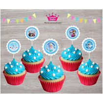 Topper Adorno P/ Cupcake Cumpleaños Frozen X 30 Personalizad