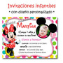 Minnie Rosa Roja 25 Invitaciones Cumple + Cartel De Regalo