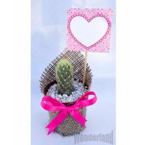 Souvenir Cactus Y Suculentas Con Tela Arpillera Y Tarjetita