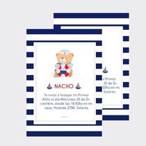 Invitaciones Tarjetas Oso Marinero X10u