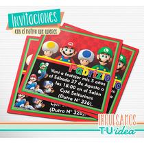 Mario Bros - Invitación Mario Bros Para Imprimir