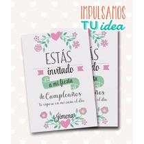 Cumple Nena - Invitación Con Flores Para Imprimir