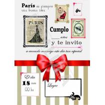 Tarjeta Invitación Cumpleaños Infantil París Nena !