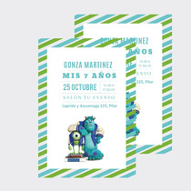 Invitacion Tarjeta Monster University/ Monsters Inc X10u