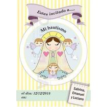 Tarjeta Invitación Virgencita Y Nenes Bautismo, Comunión!